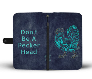 """Peckerhead"" Custom Designed Wallet Phone Case Rooster Adults"