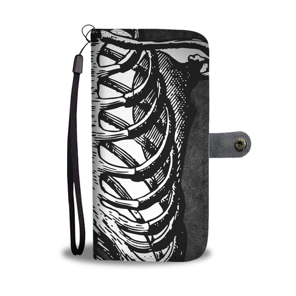 Black and White on Grey Skeleton  Ribcage Cell phone Wallet Case with RFID protection and wristlet - HemPress Design