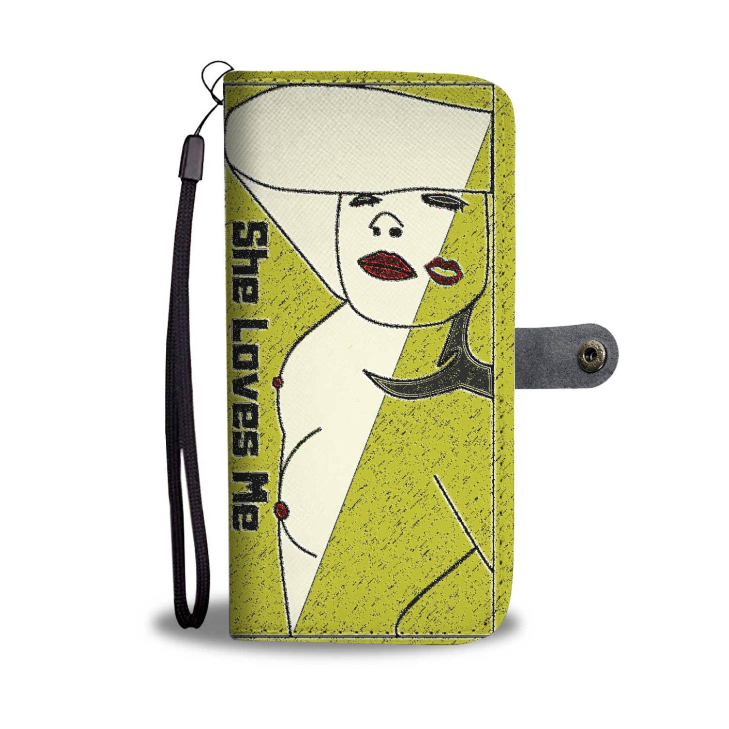 "Lesbian Gold ""She Loves Me"" Wallet Phone Case with nude woman"