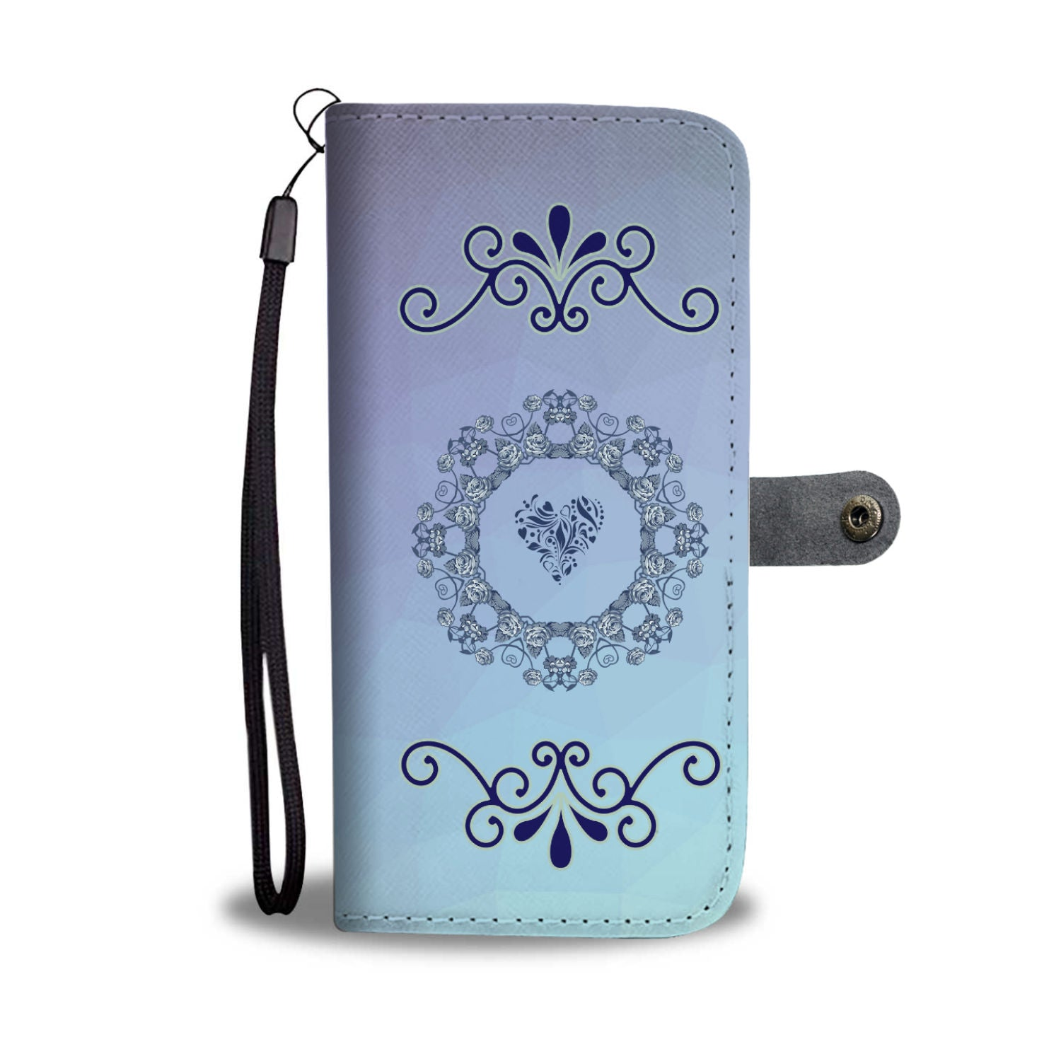 Gradient Blues Bible Verse Isaiah 40:8 Wallet Phone Case With Scroll pattern