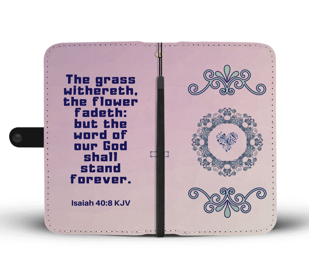 """God is forever"" Isaiah 40:8 Gradient Lavendar Scripture Wallet Phone Case"