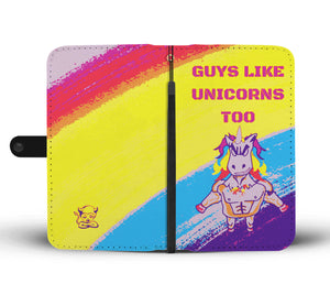 "Graphic ""Guys Like Unicorns too"" Wallet Phone Case Rainbow"
