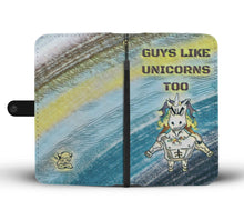 Load image into Gallery viewer, unicorn phone wallet guys blue