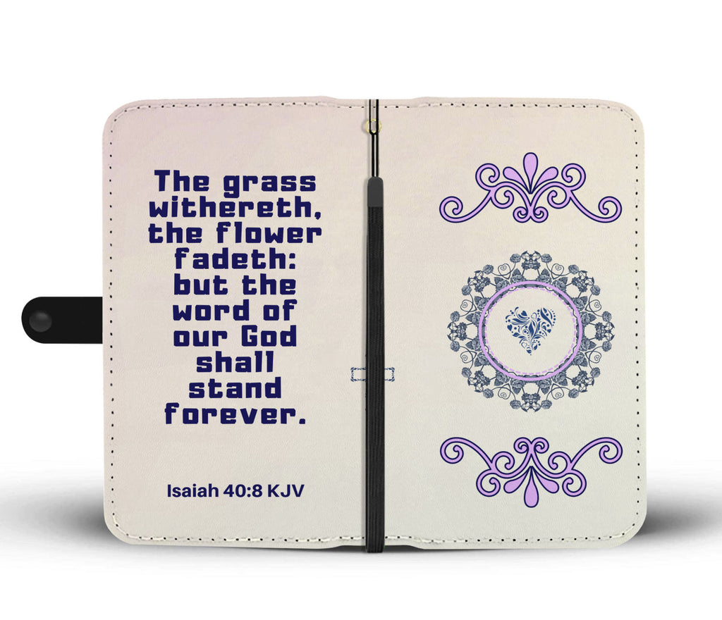 """God is forever"" Isaiah 40:8 Gradient Soft Baby Pink Scripture Wallet Phone Case"