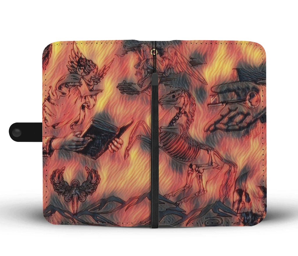 Fiery Apocolypse Angel of Def Skeleton RFID Phone Wallet Case