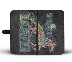True Love Rainbow floral horse phone wallet case - slate grey