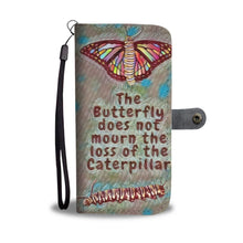 Load image into Gallery viewer, Inspirational Quote Caterpillar Butterfly Butterflies Wallet Case - Pink Pastel