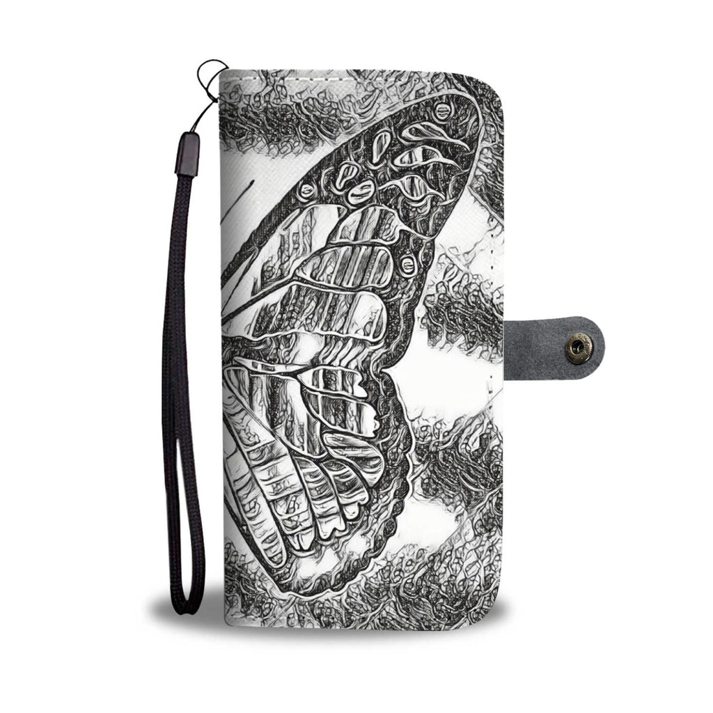"Phone Wallet Case with free wrist strap ""Black and White Butterfly"""