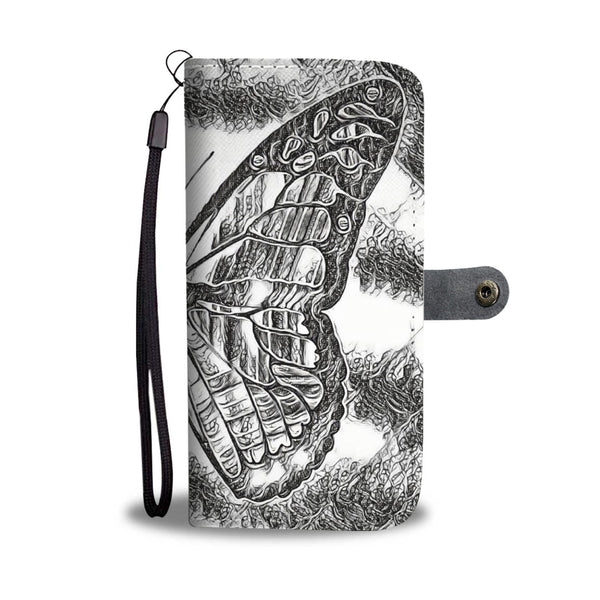 """Black and White Butterfly"" Phone Wallet Case - HemPress Design"