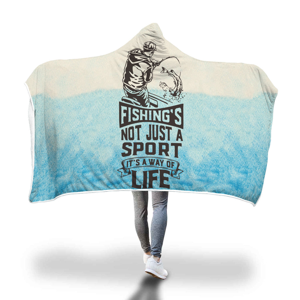 """Fishing is a Way of Life"" Sherpa Lined Hooded Blanket"