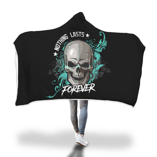 Black and Teal Skull Pattern Hooded Blanket