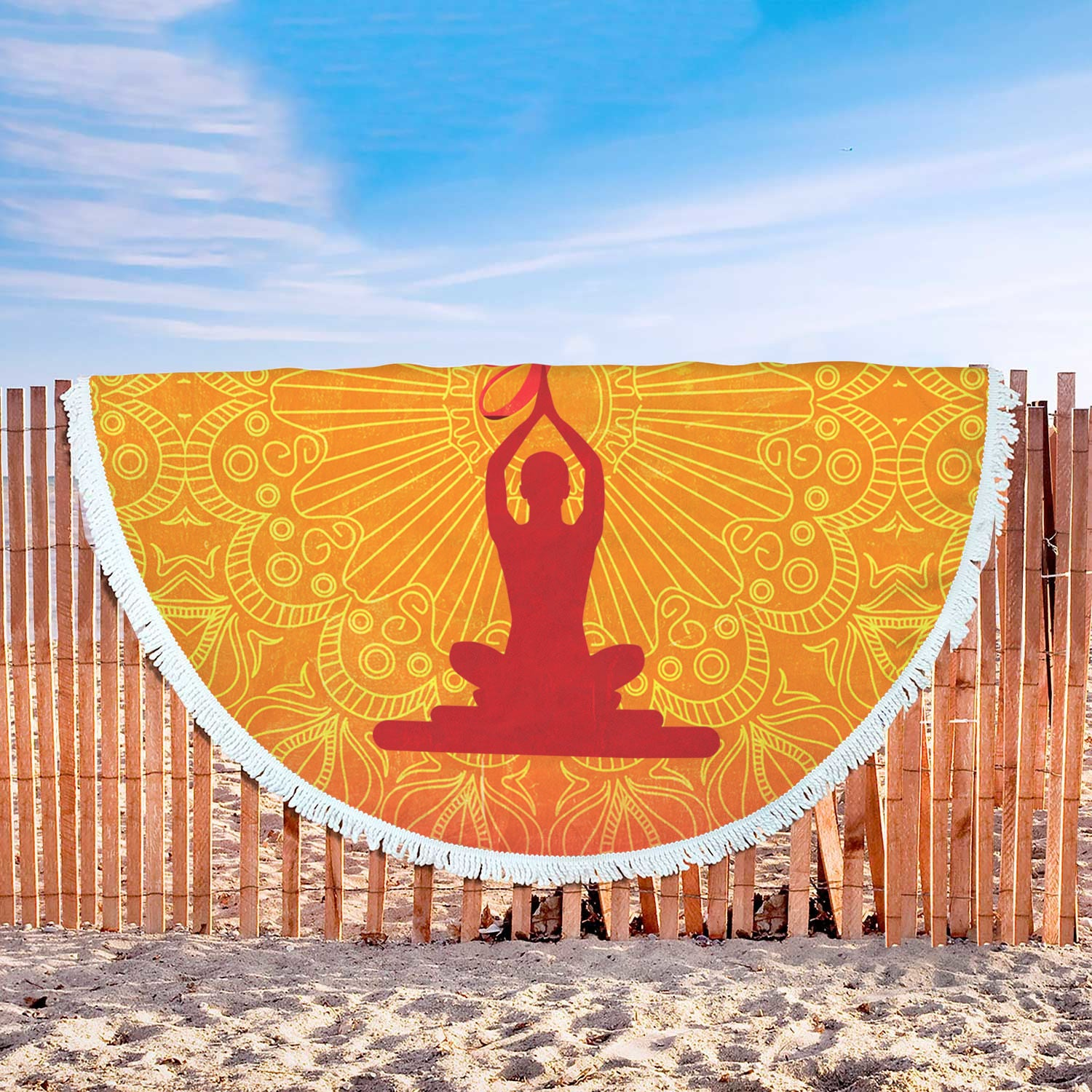 Fringed Round Orange Mandala Print Meditation Blanket