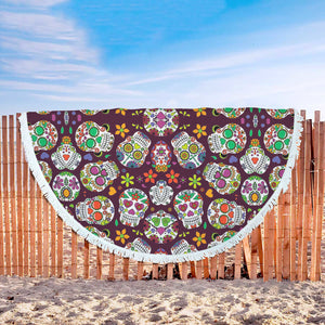 Sugar Skull Round Fringed Lounge Blanket