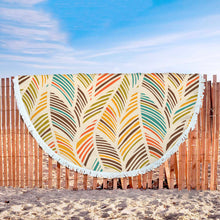 Load image into Gallery viewer, Colorful Palm Frond themed Round Blanket for Beach side or Channel Surfing