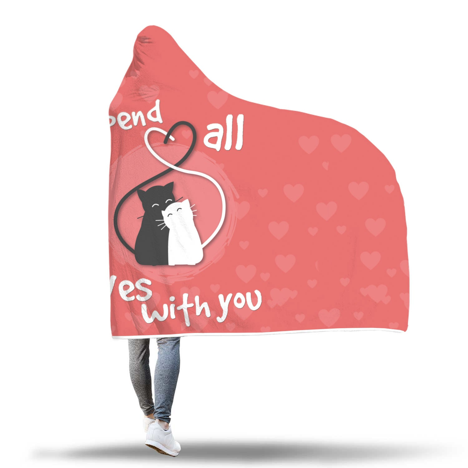 """I'd Spend All 9 Lives With You"" Cat Lover Hooded Blanket Pink Hearts"