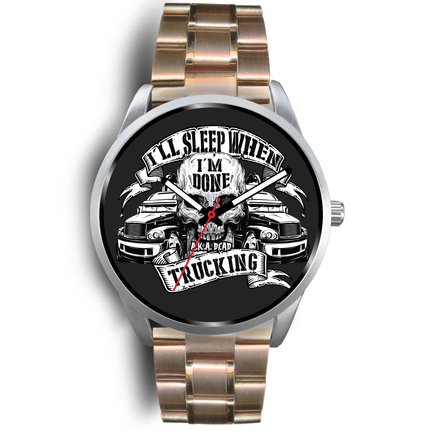 Silver Skull themed Trucker Watch