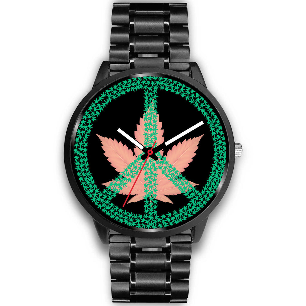 Pink Cannabis Leaf and Peace Sign Black Watch