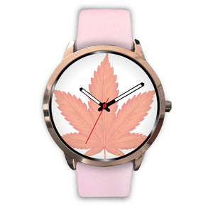 Pink and White Rose Gold Leaf Watch