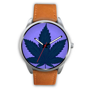 Silver Modern Watch with Blue Leaf