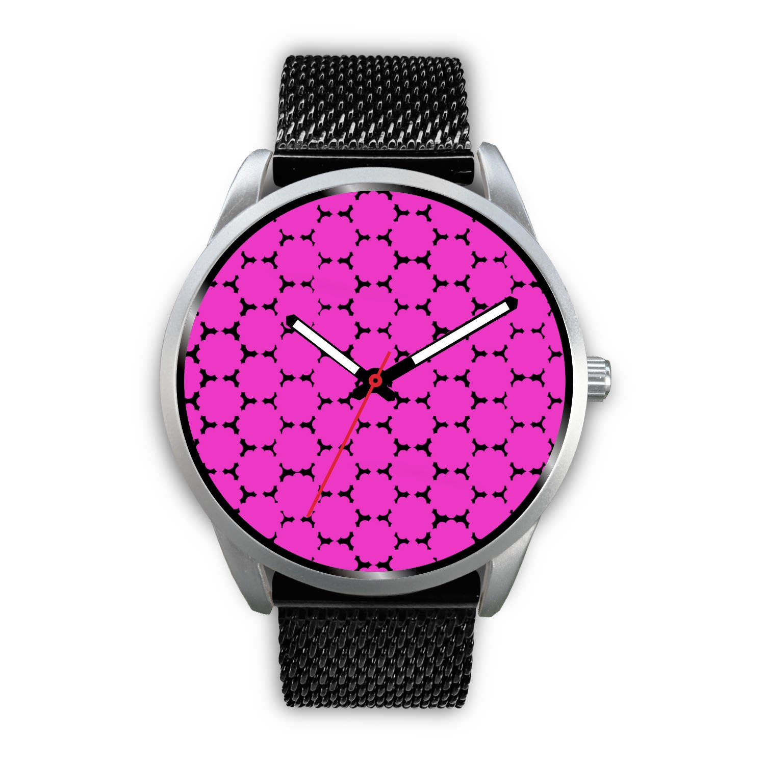 Silver Metal Mesh Watch - Pink and Black Dots