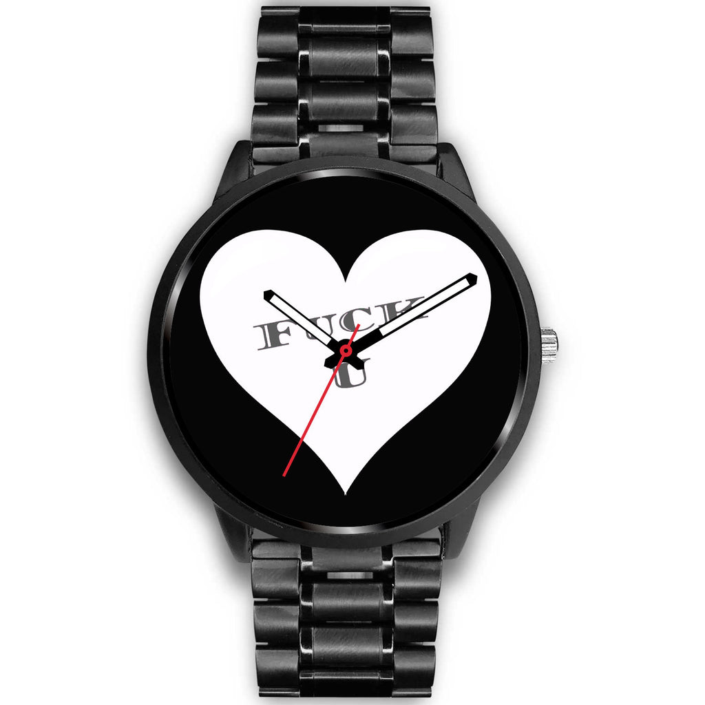 Black F U Heart Watch