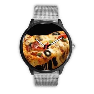 Hot and On Time- Black and White Pizza Watch