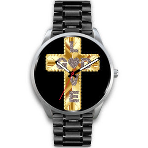 Silver, Black and Gold Love God Cross Watch
