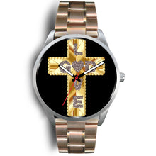 Load image into Gallery viewer, Silver, Black and Gold Love God Cross Watch