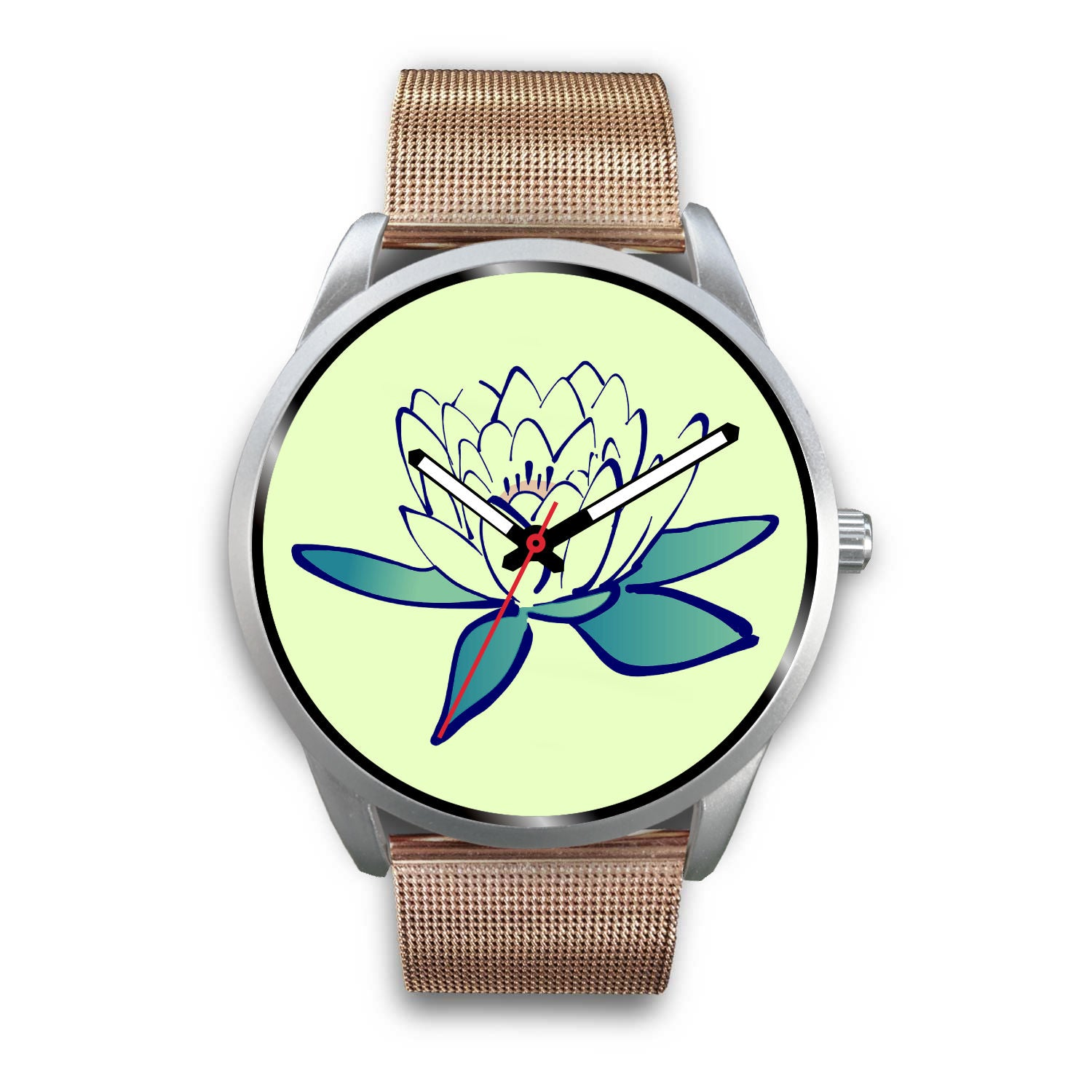 Silver Mesh Watch with Lotus Flower design