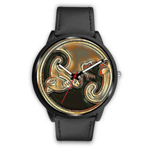 Load image into Gallery viewer, Black Cat Brown Leather Watch