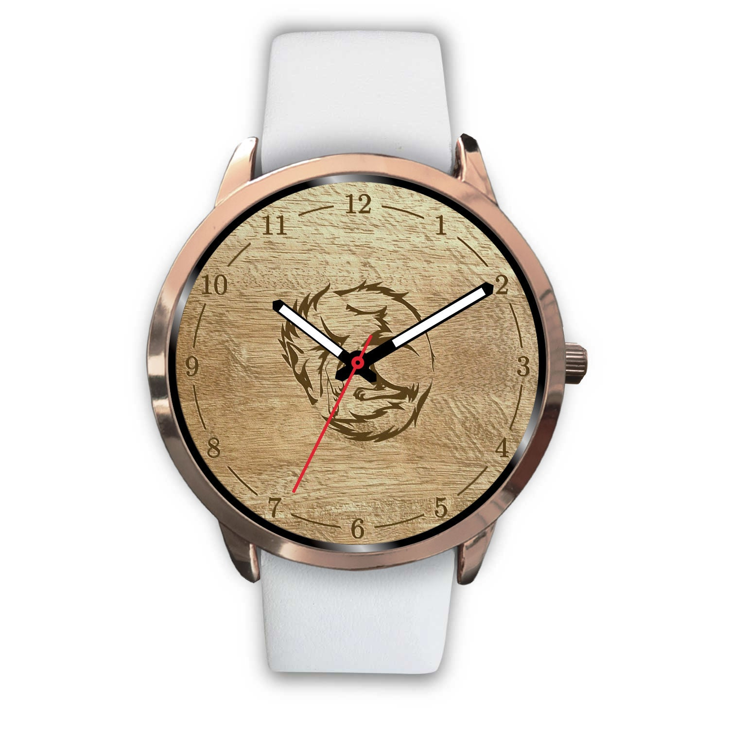 Rose Gold Woodgrain Wolf Watch with several band styles to choose from