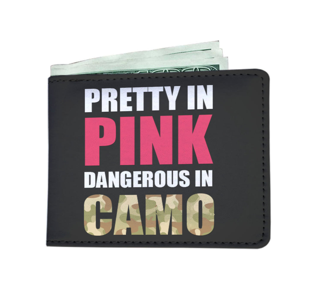 Pink And Camo billfold wallet