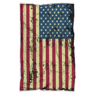 Distressed Antiqued American Flag throw blanket