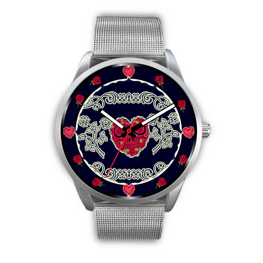 Custom Hearts and Roses skull face watch - Silver and Navy