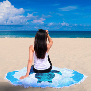 Round Sea Turtle Beach Meditation Blanket