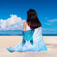 Load image into Gallery viewer, Round Sea Turtle Beach Meditation Blanket