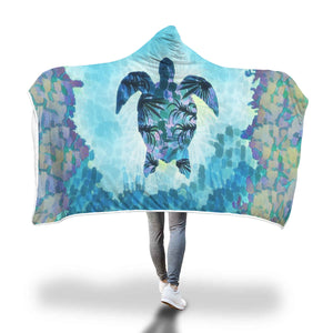 Custom Sea Turtle Printed Blanket with hoodie attached