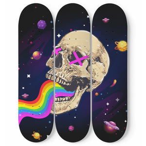 Trippy Tryptic Skull vomiting Rainbow 3 piece Pro-grade skateboard wall art