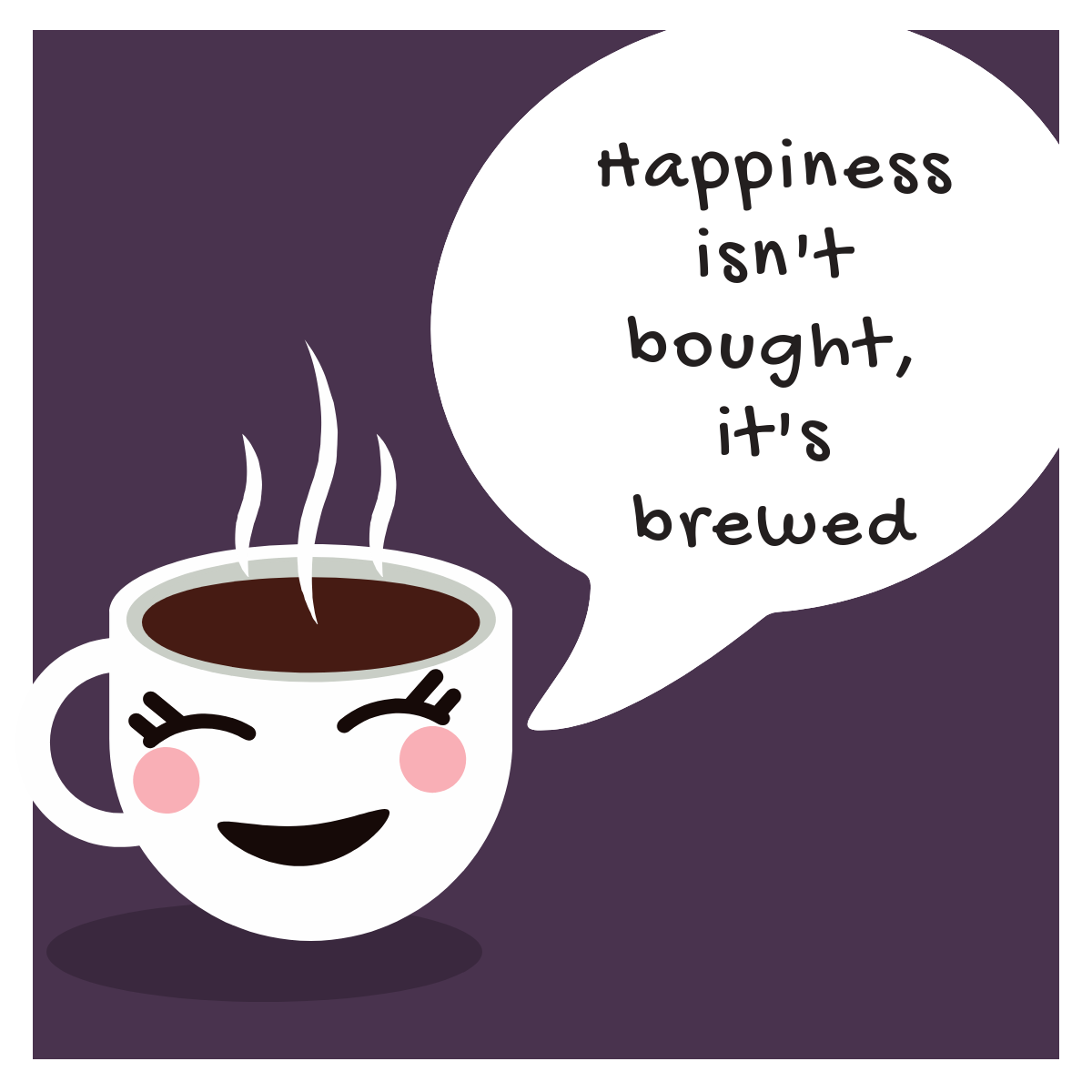 """Brewed"" Happiness cant be bought Coffee Mug - purple"