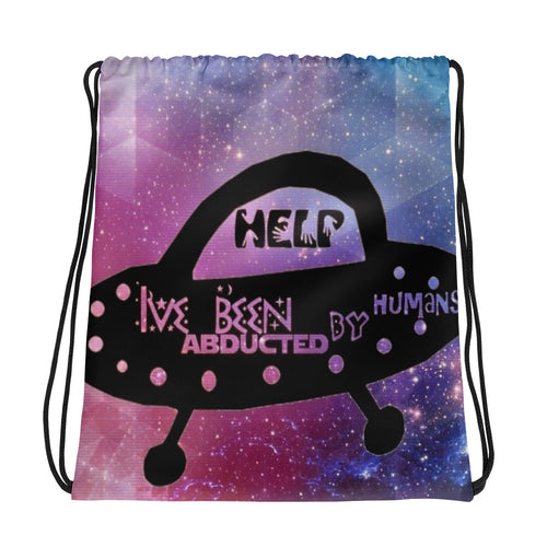 Abducted by Humans Drawstring bag