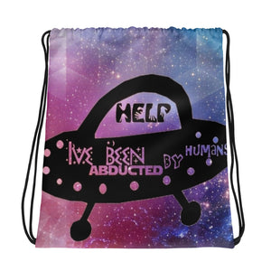 UFO abducted Drawstring bag