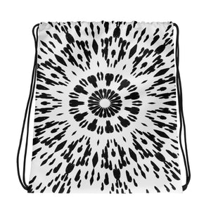 Black and White Drawstring bag