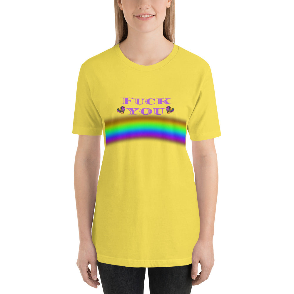 F You Rainbow and hearts Short-Sleeve Unisex T-Shirt