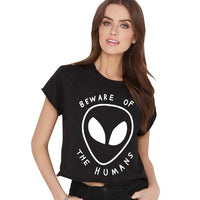 BEWARE OF THE HUMANS Alien Printed Short T Shirt