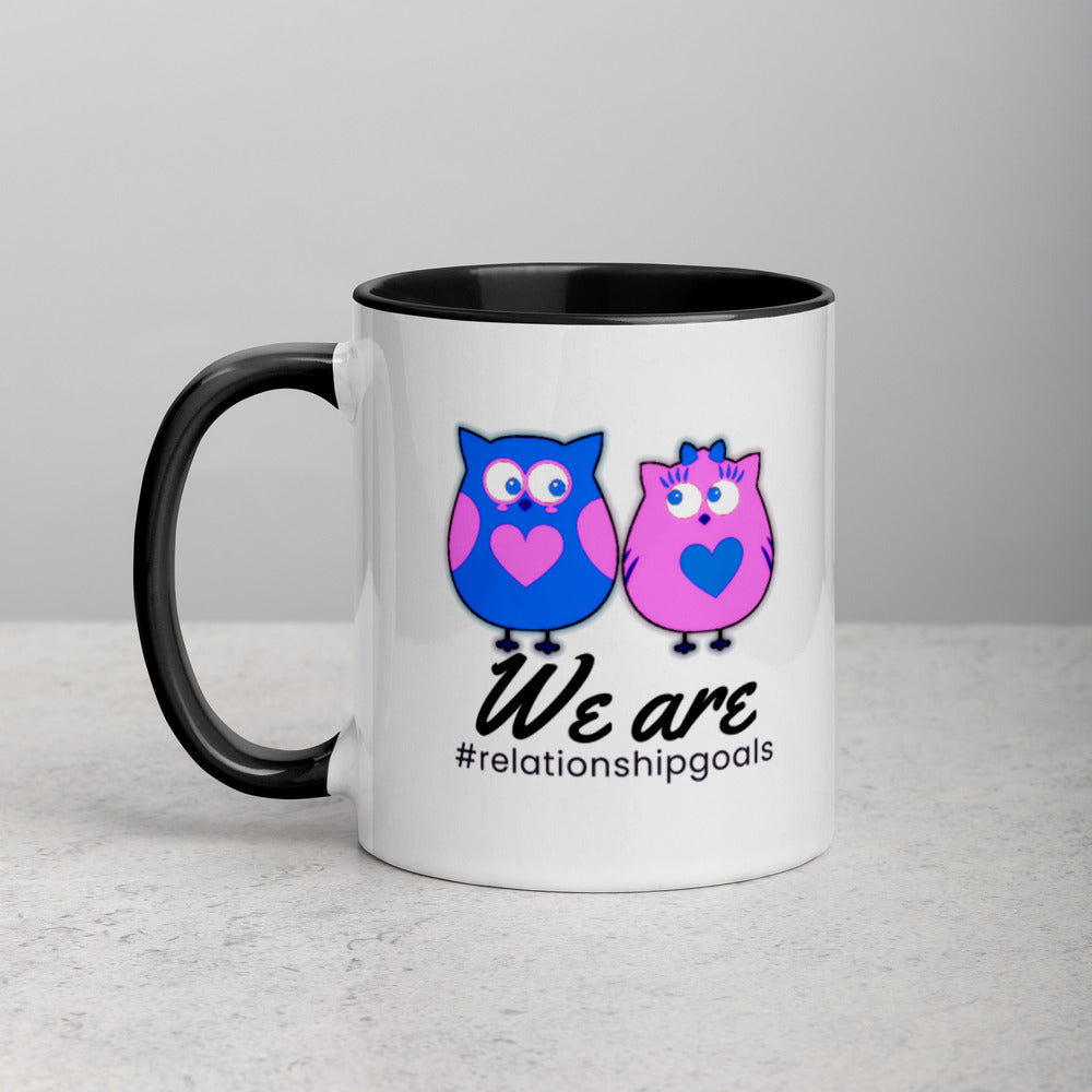Relationship Goals Couples Coffee Mug with Color Inside