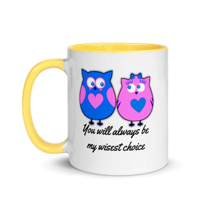 Wise Choice Love Owl Valentine Couple Gift Mug with Color Inside