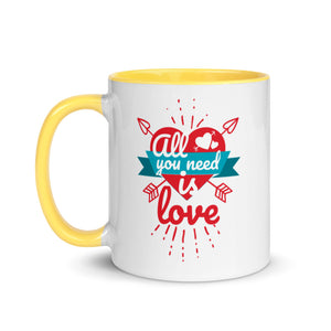 All you need is love Coffee Mug with Colored Handle