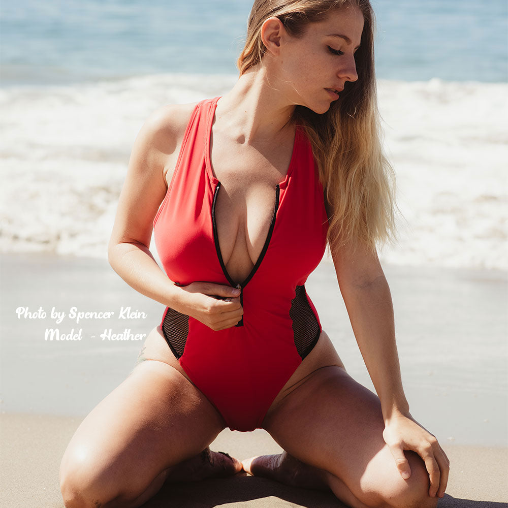 red zip up mesh panel swimsuit heather