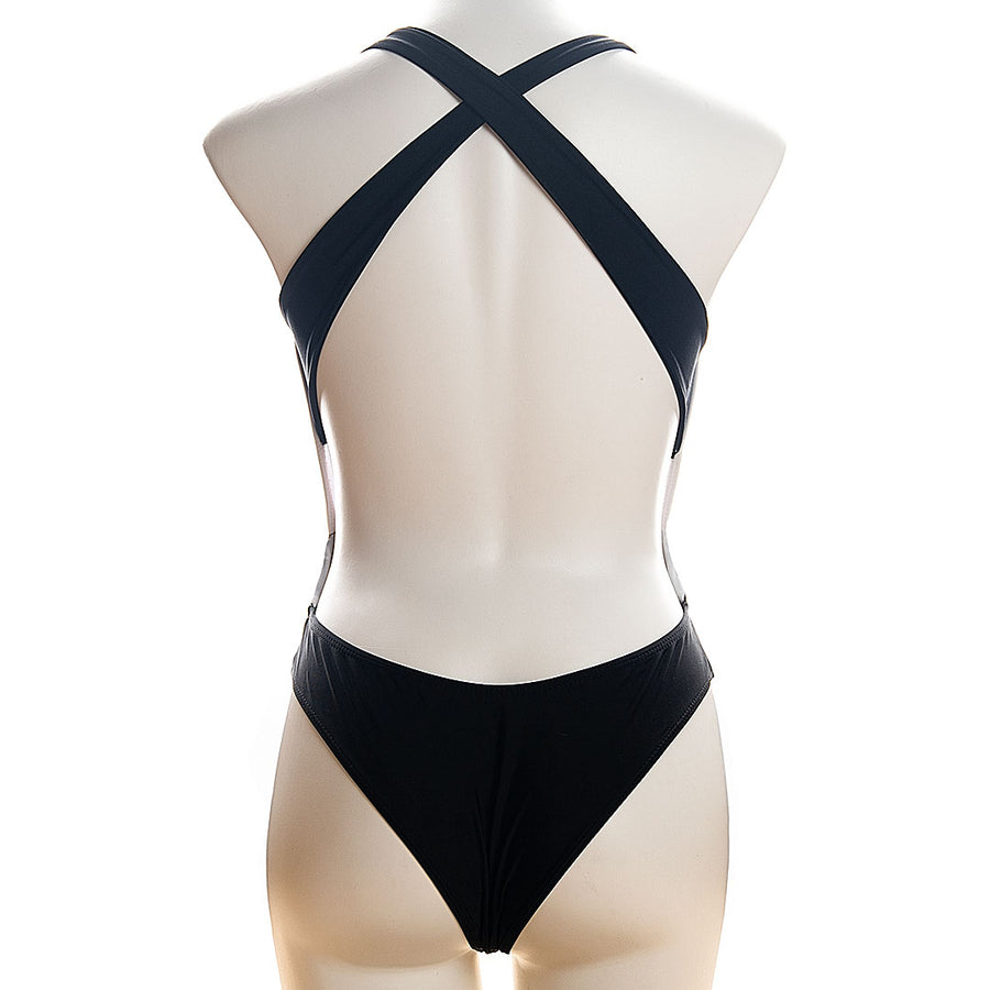 Two-tone Plunge One-piece Swimsuit