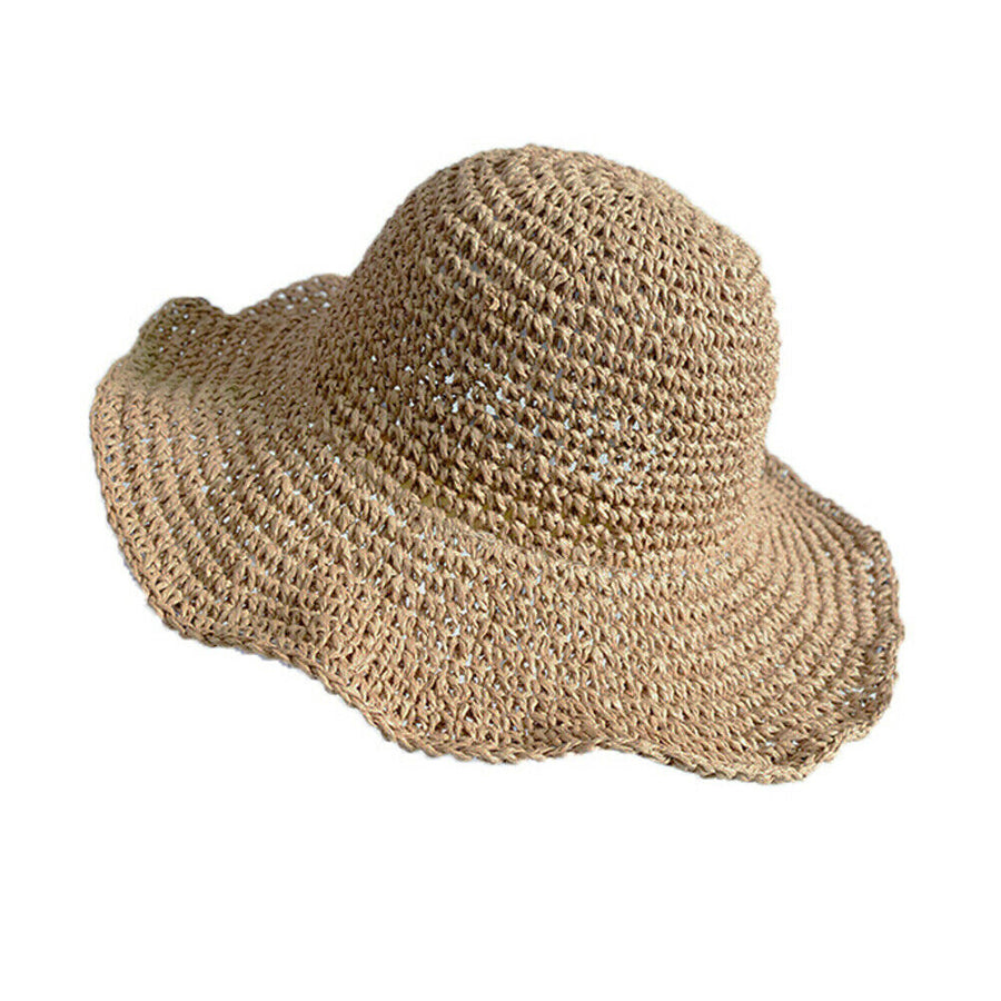 Hot Summer Hoilday Floppy Straw Hat Women Ladies Wide Brim Beach Foldable Bow Flower Straw Sun Hat Sun Cap One Size Wide - Popstry